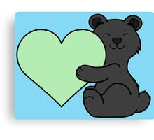 Valentine's Day Black Bear with Light Green Heart Canvas Print