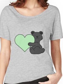 Valentine's Day Black Bear with Light Green Heart Women's Relaxed Fit T-Shirt