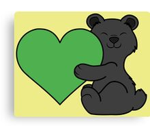 Valentine's Day Black Bear with Green Heart Canvas Print