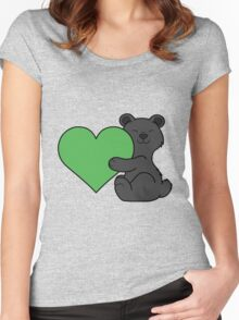 Valentine's Day Black Bear with Green Heart Women's Fitted Scoop T-Shirt