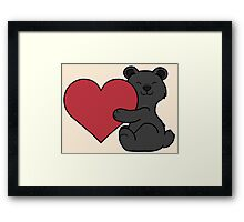 Valentine's Day Black Bear with Red Heart Framed Print