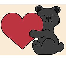 Valentine's Day Black Bear with Red Heart Photographic Print
