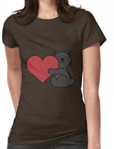 Valentine's Day Black Bear with Red Heart Womens Fitted T-Shirt