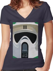 Scout Trooper Star Wars Print  Women's Fitted V-Neck T-Shirt