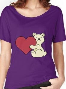 Valentine's Day Kermode Bear with Red Heart Women's Relaxed Fit T-Shirt