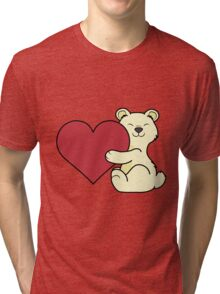 Valentine's Day Kermode Bear with Red Heart Tri-blend T-Shirt