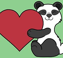 Valentine's Day Panda Bear with Red Heart by Grifynne