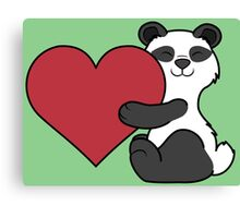 Valentine's Day Panda Bear with Red Heart Canvas Print