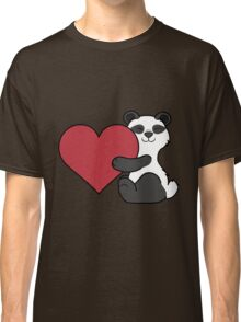 Valentine's Day Panda Bear with Red Heart Classic T-Shirt