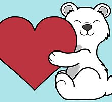 Valentine's Day Polar Bear with Red Heart by Grifynne
