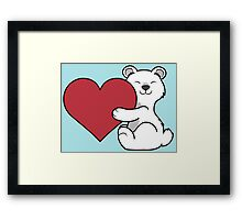 Valentine's Day Polar Bear with Red Heart Framed Print