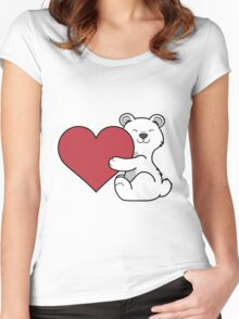 Valentine's Day Polar Bear with Red Heart Women's Fitted Scoop T-Shirt