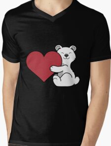 Valentine's Day Polar Bear with Red Heart Mens V-Neck T-Shirt