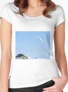 The flight of the snowy owl Women's Fitted Scoop T-Shirt