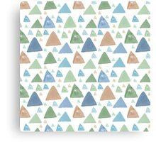 Mint Blue Peach Watercolor Triangles Canvas Print
