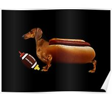 DACHSHUND WIEINER DOG WITH FOOT BALL-KETCHUP & MUSTARD-- VERSION TWO VARIOUS APPAREL Poster