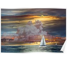Sailing In Sunset Poster