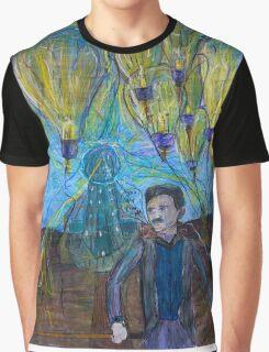 Nikola Tesla Freeing the light bulb balloons Graphic T-Shirt