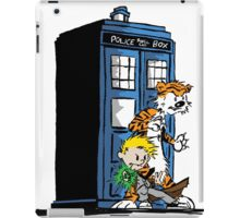 calvin and hobbes police box in action iPad Case/Skin