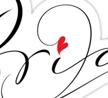 Bride Hand Lettering - Fancy Wedding Calligraphy Script with Red Heart on White Sticker