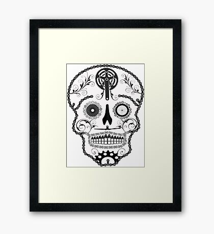 Cogs and Chains skull Framed Print