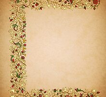 Gold Roses Illuminated Left Page by Donna Huntriss