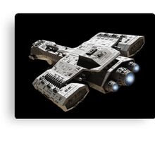 Spaceship on Black with Blue Engine Glow Canvas Print