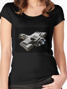 Spaceship on Black with Blue Engine Glow Women's Fitted Scoop T-Shirt