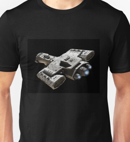 Spaceship on Black with Blue Engine Glow Unisex T-Shirt