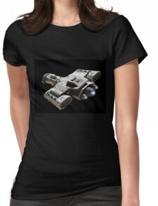 Spaceship on Black with Blue Engine Glow Womens Fitted T-Shirt