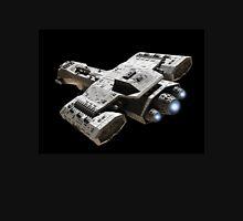 Spaceship on Black with Blue Engine Glow Unisex T-Shirt