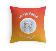 WORLD PEACE OTTERS Sunset Throw Pillow