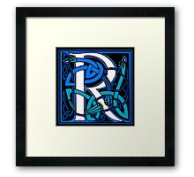 Celtic Peacock Letter R Framed Print