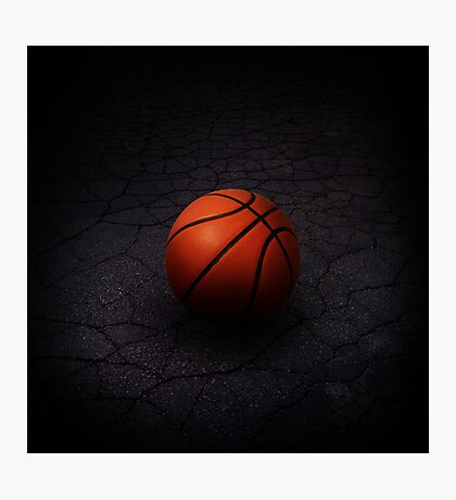 Lonely Basketball Photographic Print