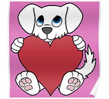 Valentine's Day White Dog with Red Heart Poster