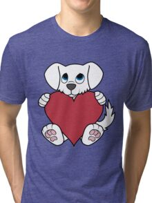 Valentine's Day White Dog with Red Heart Tri-blend T-Shirt