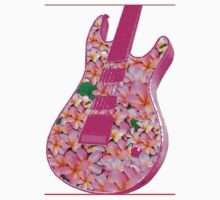 Guitar of Pink Flowers One Piece - Long Sleeve