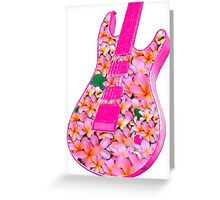 Guitar of Pink Flowers Greeting Card