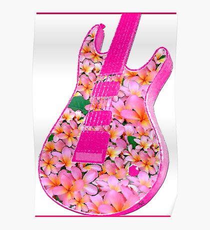 Guitar of Pink Flowers Poster