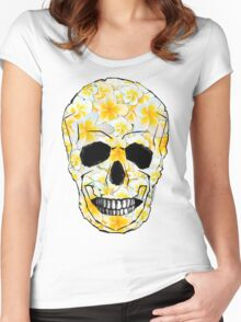 Skull Frangipani Yellow Flowers 1 Women's Fitted Scoop T-Shirt