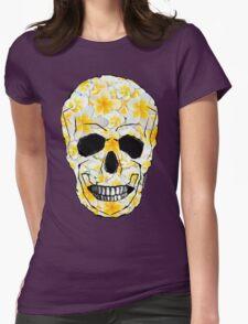 Skull Frangipani Yellow Flowers 1 Womens Fitted T-Shirt