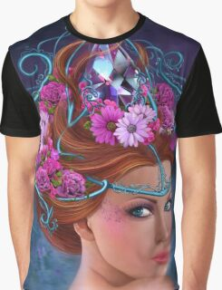 Fantasy Woman and red flowers , fashion portrait Graphic T-Shirt