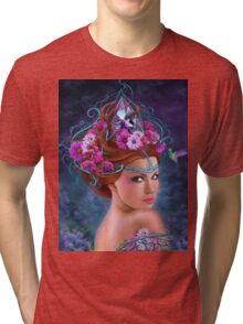 Fantasy Woman and red flowers , fashion portrait Tri-blend T-Shirt