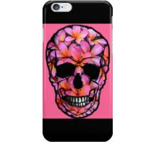 Skull with Pink Frangipani Flowers iPhone Case/Skin