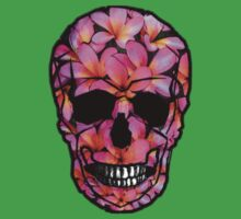 Skull with Pink Frangipani Flowers Baby Tee