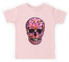 Skull with Pink Frangipani Flowers Kids Tee