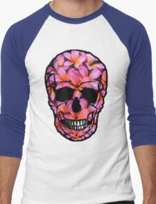 Skull with Pink Frangipani Flowers Men's Baseball ¾ T-Shirt