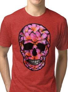 Skull with Pink Frangipani Flowers Tri-blend T-Shirt