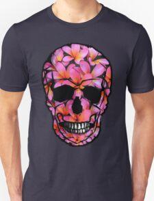 Skull with Pink Frangipani Flowers Unisex T-Shirt