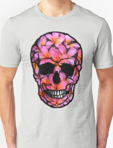 Skull with Pink Frangipani Flowers Unisex T-Shirt
